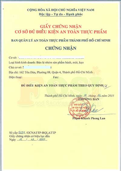Mẫu giấy an toàn vệ sinh thực phẩm của Ban ATPP Bộ Y Tế