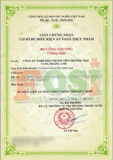 Mẫu giấy chứng nhận vệ sinh an toàn thực phẩm của Ban ATPP Bộ Công Thương