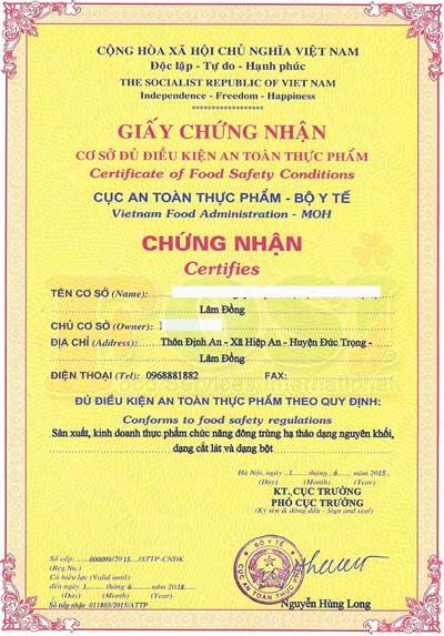 Mẫu giấy chứng nhận vệ sinh an toàn thực phẩm của Cục ATPP Bộ Y Tế